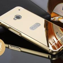 01  For HTC One Dua Luxury Mirror Metal Aluminum+Acrylic Hard Back Cover on M7 HTC One dual sim 802t 802w 8