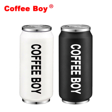 Coffee Boy 400ml Portable Tour Stainless steel Creative Straw Water Bottle(China)