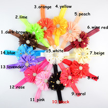 10pcs/lot Shiny Rhinestone On Gold Polka Dotted Flower Elastic Head Band Baby Girl Luxury Headdress 14 Color for U Pick FDA218