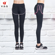 V.S.Q Women Sports super stretch Yoga Leggings femme  Gym Fitness running long pants with shorts
