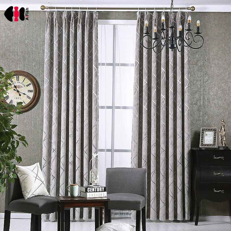 Luxury European Curtains Thick Cloth Silver Stripe Print Ready Made Window Curtain Blind Ceiling Living Room WP293C