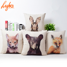 Cushion Cover Animal 3D Cushion Indian Painting Style Cotton Linen Fox Bear Rabbit Sofa Home Decorative Throw Pillow Cover