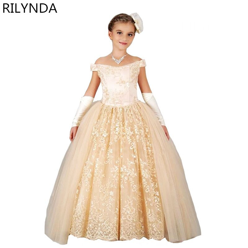 Champagne Girl Ball Gown Gorgeous Appliques Lace Up Off Shoulder Glitz Pageant Flower Girl Dress For Children Christmas<br><br>Aliexpress
