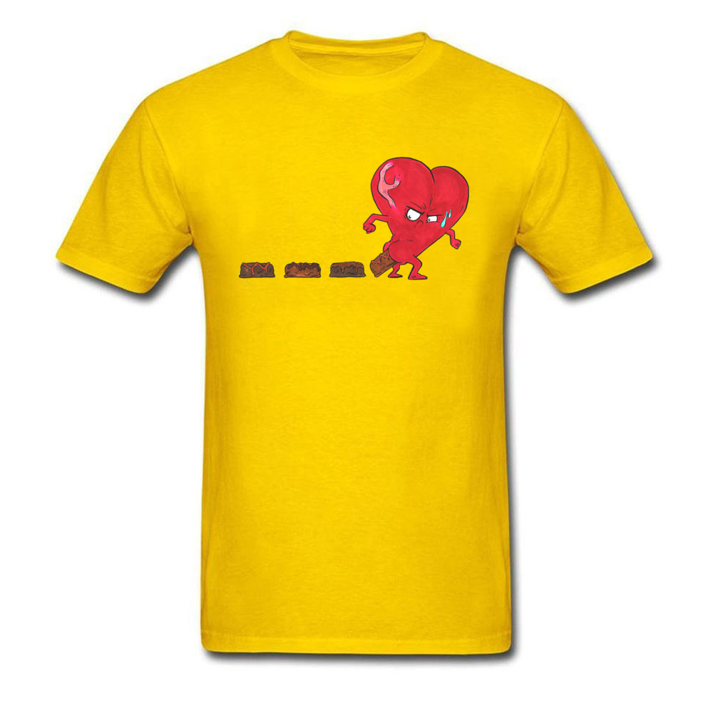 Design Chocolate Filled Heart Geek Short Sleeve Autumn Tops & Tees Wholesale Round Collar Cotton Fabric Tee Shirts Boy T Shirts Chocolate Filled Heart yellow