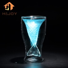 Novelty Crystal Double Wall Transparent Mermaid Shot Glass Borrelglas Heat-proof Mermaid Cup Cocktail Wine Glass Bar Party Cup(China)