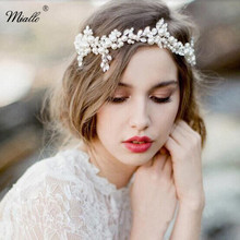 Miallo Handmade Pearl Beads Tiaras Crystal Bridal Headband Wedding Hair Accessories Elegant Headpiece Prom Party Head Jewelry(China)