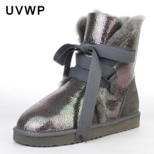 Top Quality Genuine Sheepskin Leather Woman Snow Boots Fashion Waterproof Winter Boots 100% Natural Fur Warm Wool Women Boots(China)