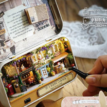 Forest rhapsody Box theatre DIY Mini Doll house 3D Miniature Colored Lights Metal box Dolls Wooden support Furnitures Decoration