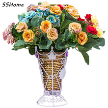 European Fall Style Silk Artificial Flowers Vivid Peony Fake Leaf Plastic Plants for Wedding Home Party Decoration