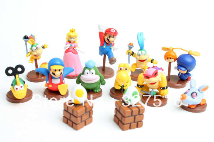 Japan Anime Game Super Mario Bros Color box packaging 13pcs/set  PVC Figure Toys Free Shipping<br><br>Aliexpress