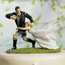 "Free Shipping ""A Love Match"" Rugby Couple Figurines Wedding Resin Cake Topper"