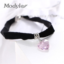 Modyle 2017 New Crystal Heart Pendant Necklaces Charm Black Velvet Choker Necklace for Women(China)