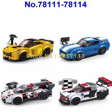 78111~78114 Technic City Super Racers Speed Champions Supercar Racing car decool Building Block Brick Toy(China)