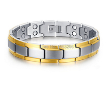 For Men's Gold Silver  Stainless Steel Energy Magnetic Germanium Chain Bracelet 12mm 8.66''