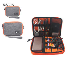 XZJJA Waterproof USB Electronic Cable Data Storage Bag Mobile Power PC Digital Shockproof Protective Case 2 Layer Zipper Bag(China)