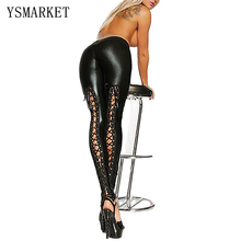 New Faux Leather Lace Up Pencil Pants Women Sexy Black Hollow Out Skinny Trousers Butt Lifting Leggings Latex Pantalones S627(China)