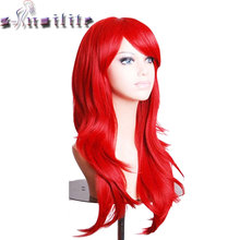 S-noilite 22 inches Nature Wave Synthetic Non Lace Front Wigs for black women cosplay wig Black Brown Blonde Red Pink Grey Hair(China)