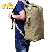 Men Luggage Travel Bag Army Bucket Backpack Multifunctional Military Canvas Backpacks Large Shoulder Bags Casual Back Pack 1934C(China)