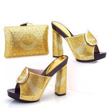 TYS17-96 Gold Latest Design African Woman Sandals Shoes High Heels Matching Bag Fashion Italian Shoes And Bag Set Factory Price