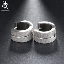 ORSA JEWELS Silver Color Hoop Earrings Small Circle Fashion Stainless Steel Men Women Earrings Jewelry Accessories GTE05(China)
