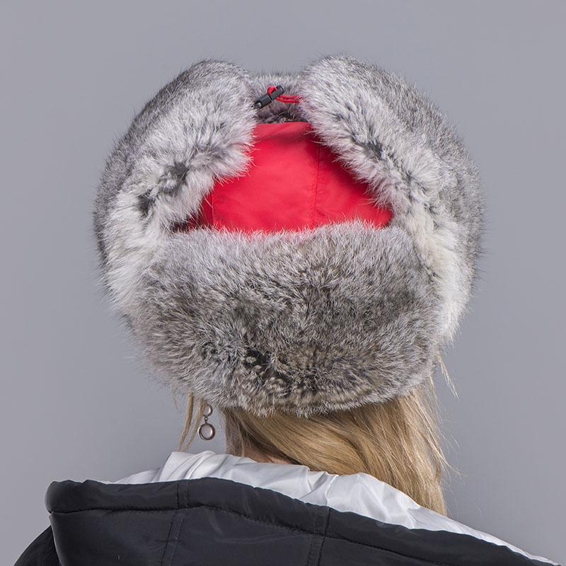 rabbit fur hat women red 7