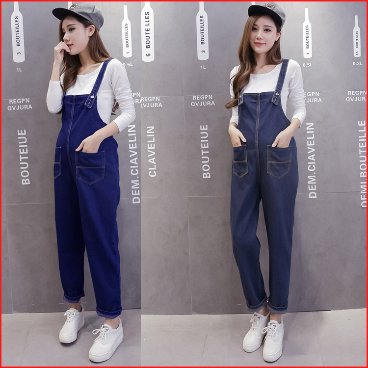 Pregnant women in the fall and winter of suspenders trousers jumpsuits abdominal maternity clothes loose pregnant women pregnant<br><br>Aliexpress
