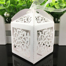 50Pcs Hollow Leaves Laser Cut Candy Box Wedding Favors And Gifts Baby Shower Chocolate Box For Party Decoration Supplies(China)