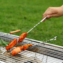 10PCS/lot Long BBQ Roasting Needle Roast Barbecue Flat BBQ Forks Stainless Steel Grilling 38CM(China)