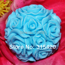 Wholesale - LZ0091 DIY 3D Rose Flower Ball /Candle Crafts Molds Silicone Candle Mold Moulds