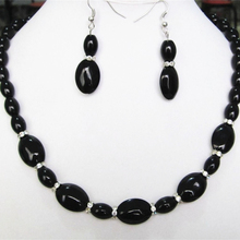 Barrel 8X12mm 13X18mm oval black natural stone carnelian stone onyx beads necklace earrings elegant jewelry set 18inch BV368