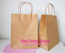 20pcs--27x21x11cm Plain design Kraft Gift Bag, Natural color Party Favor Paper bagFree shipping