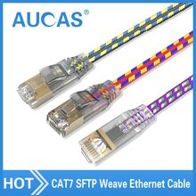 AUCAS 0.5m 1m 2m 5m 10m 15m Network Cable rj45 cable Ethernet Lan Cable SFTP CAT7 RJ45 Cable Flat Patch Cord