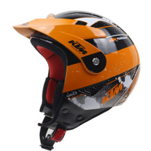 Downhill Mountain Helmet Motocross Helmet Off Road Extreme Motorcycle Trails Helmet Casco with Peak Orange color