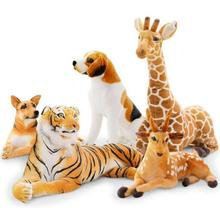 Many large simulation plush toys leopard lion tiger giraffe fawn dog toy doll