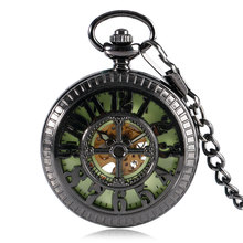 Vintage Pocket Watch  Luminous Mechanical Hand Wind Fob Clock Arabic Numbers Mickey Mouse Hollow Pendant Gift + Bag 2017