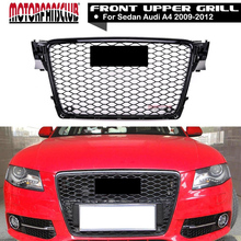 RS Style Autopart Black Rs-Honeycomb Mesh Bumper Grill Grille Guard+Emblem For Audi A4 S4 B8 2009 2010 2011 2012