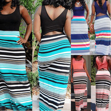 Hot Sale Sexy Women Summer Beach Boho Maxi Dress 2017 New High Quality Brand Striped Print Long Dresses Feminine Plus Size(China)