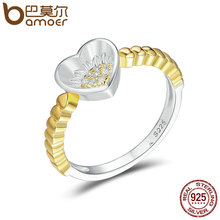 BAMOER Authentic 925 Sterling Silver Sunflower In Heart Gold Color Finger Ring for Women Wedding Anniversary Jewelry Gift SCR103(China)