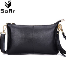 SoAr Fashion cow leather women messenger bags phone clutch bag high quality genuine leather bag small ladies shoulder bag Flap 1(China)