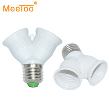 MeeToo  brand E27 to 2 E27 Light Lamp Bulb Adapter Converte  2E27 Lamp Holder Converter LED CORN  URE 1PCS/LOT