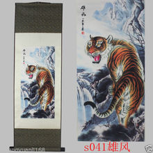 "40""Chinese SuZhou Silk Art Mountain Tiger Decoration Scroll Painting S041"