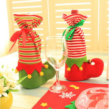 Christmas Decoration Stocking Gift Holder Christmas Elf Wine Champagne cover Christmas elf gift bags socks wine cover supplies(China)