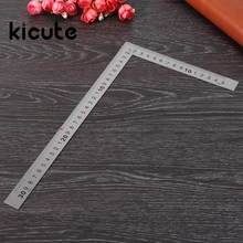 Kicute Best Price Straight Stainless Steel 90 Degrees Angle Metric Try Mitre Square Ruler 150x300mm School Office Stationery(China)