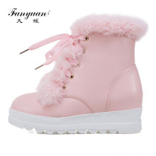 Fanyuan 2017 Hot Sale Shoes Women Boots Solid Lace up Soft Cute Women Snow Boots Round Toe Flat with Winter Fur Ankle Boots(China)