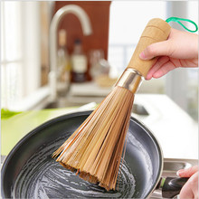 dishwashing brush Bamboo Whisk scrubber kitchen cleaning bamboo pot brush for stainless steel pan