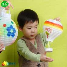 5pcs/lot Hot Air Balloon White Paper Lanterns Children Handmade Diy Painting Lantern Festival Corridor Creative Decoration(China)