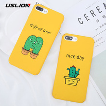 Buy USLION Cartoon Green Cactus Phone Case iPhone X Letter Cases iPhone 7 8 6 6S Plus Love Heart Matte Hard PC Back Cover for $1.44 in AliExpress store