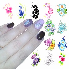 ZKO 1 Sheet Optional Blooming Flower Nail Art Water Decals Transfer Sticker Nails Tools For Nails(China)