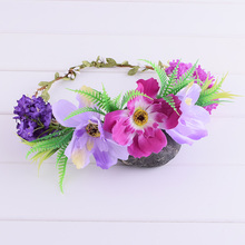Romantic Cherry Blossoms Lavender Floral Crown Headwrap Flower Crown Wedding Floral Headband Wreath Hair Band Festival Woman(China)