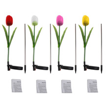 1 Set Solar Power Tulip Flower Garden Stake Landscape Lamp Outdoor Yard LED Light   Pink/Red/Yellow/White Color